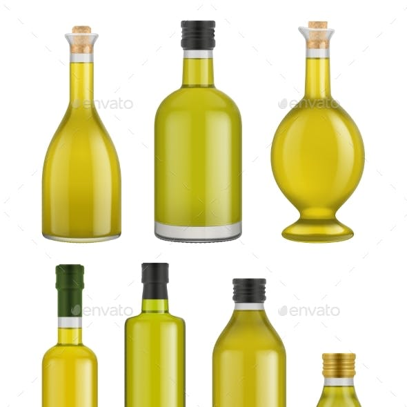 Olive Oil Bottle Glass Isolated