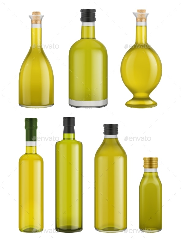 Olive Oil Bottle Glass Isolated - Food Objects