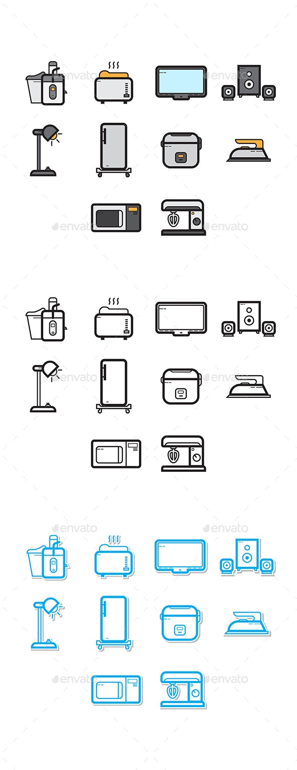 Home Appliances Icon Set - Objects Icons