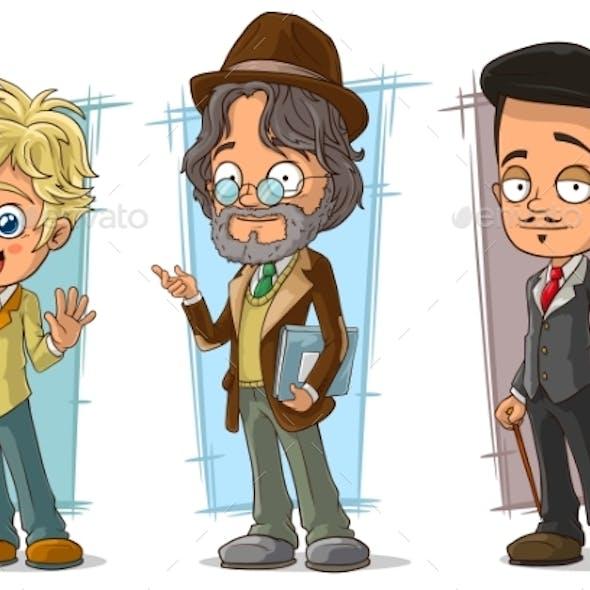Cartoon Intelligent Artist Character Vector Set