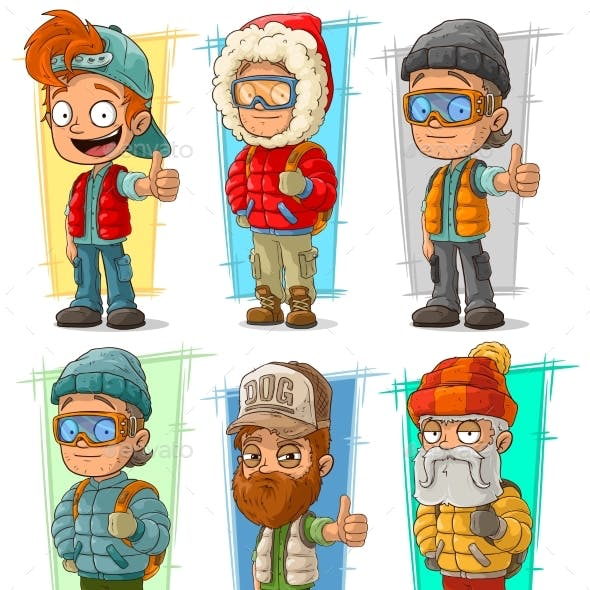 Cartoon Tourist Traveler Characters Vector Set
