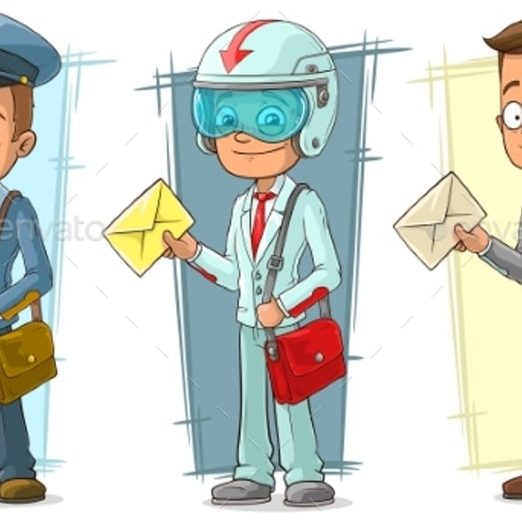 Cartoon Postman with Letter Character Vector Set
