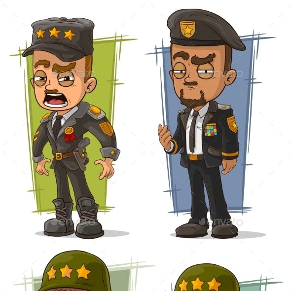 Cartoon Army General Character Vector Set