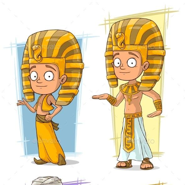 Cartoon Egyptian Pharaoh and Mummy Character Set