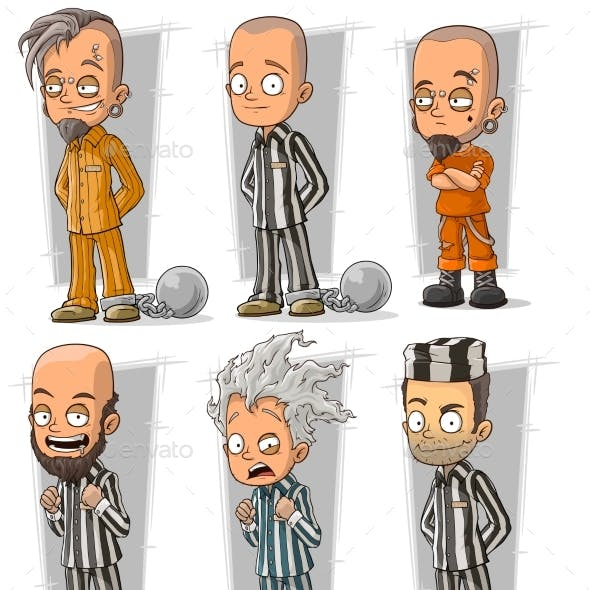 Cartoon Prisoners with Chains Character Vector Set