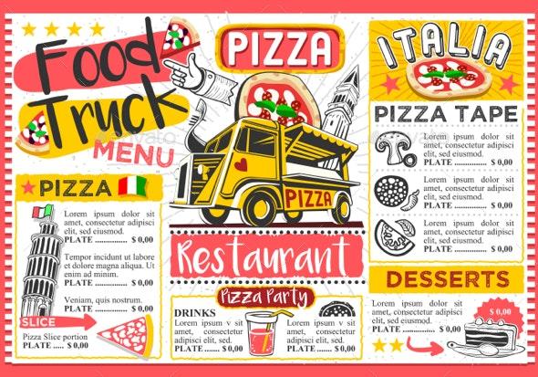 Fast Food Truck Menu Street Food Pizza Festival Vector Template - Vectors