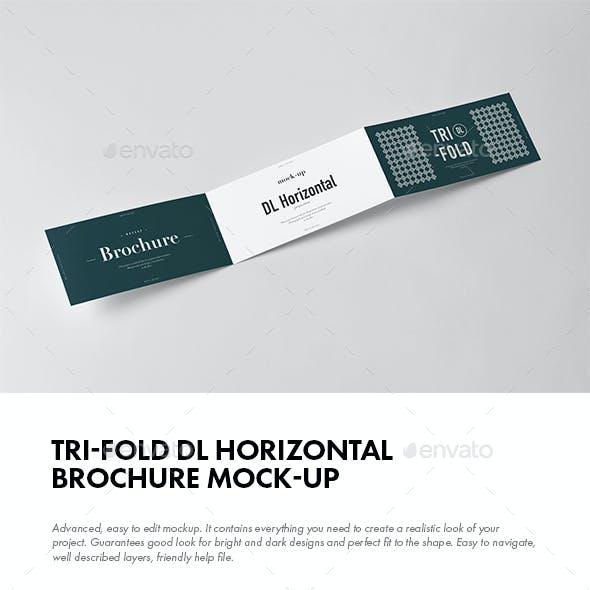Tri-Fold DL Horizontal Brochure Mock-up
