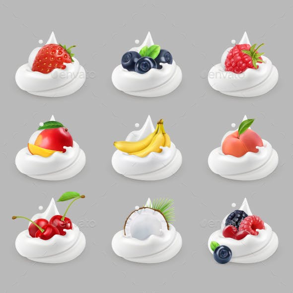 Whipped Cream With Fruits And Berries