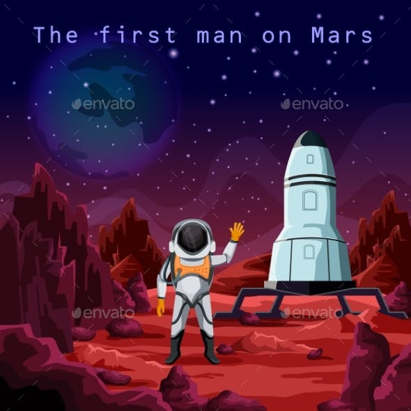 First Man in Spacesuit Exploring Red Planet Mars