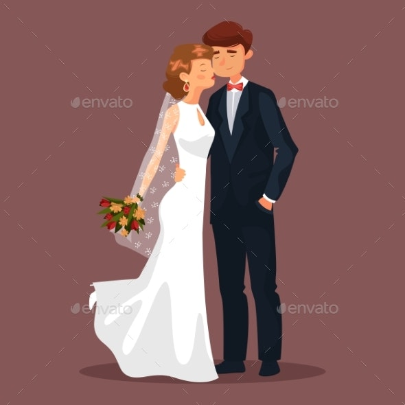 Husband and Wife, Man and Woman Couple at Wedding - People Characters