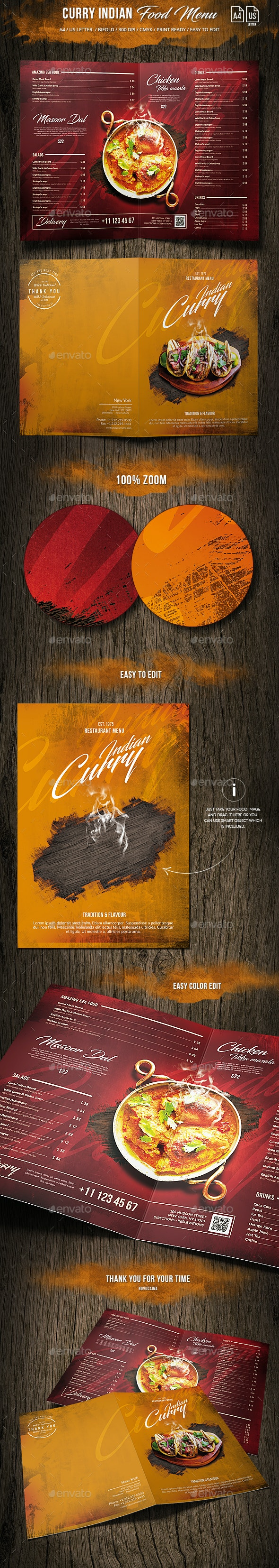 Curry Indian Food Menu - A4 and US Letter Bi-Fold - Food Menus Print Templates
