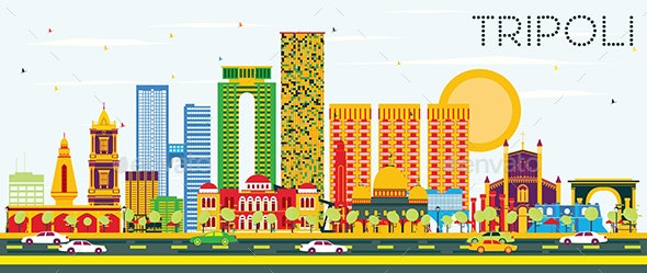 Tripoli Skyline with Color Buildings and Blue Sky. - Buildings Objects
