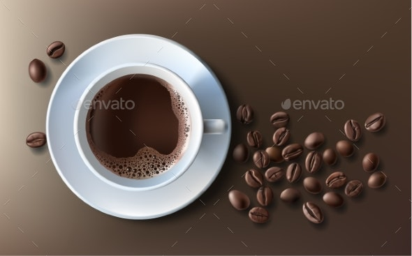 Coffee Cup with Coffee Beans - Food Objects