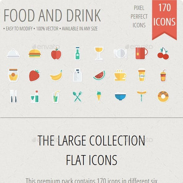 Food and Drinks Flat Paper icons