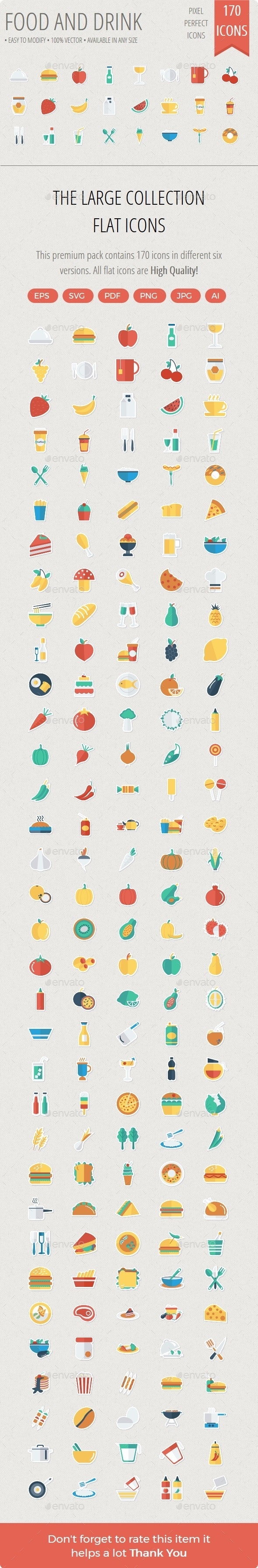 Food and Drinks Flat Paper icons - Icons