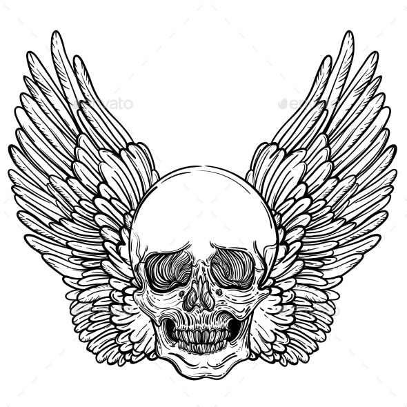 Line Art Illustration of Angel Wings and Skull - Tattoos Vectors