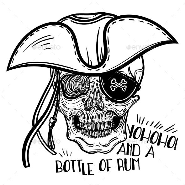Human Skull and Hat - Tattoos Vectors