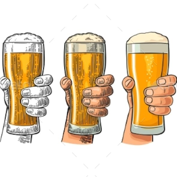 Man Hand Holding and Clinking Beer Glass