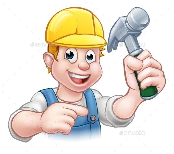 Carpenter Handyman in Hard Hat Holding Hammer Tool - Industries Business
