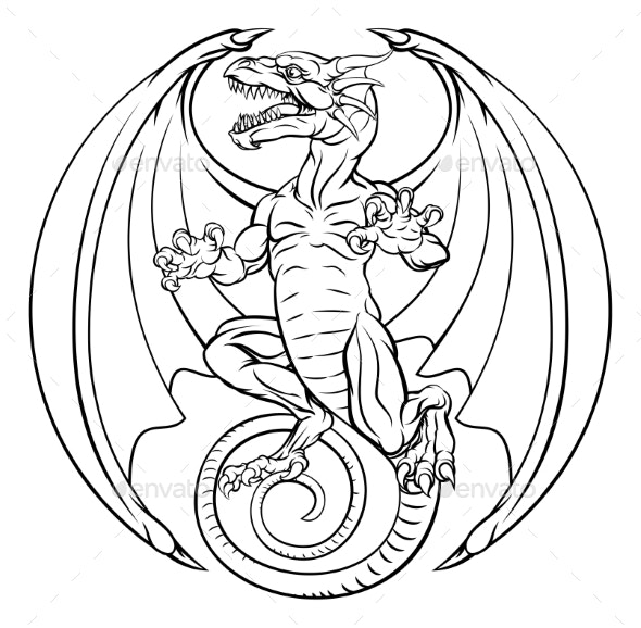 Dragon Tattoo Design - Monsters Characters