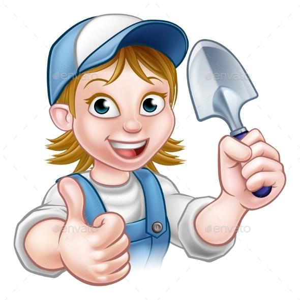 Cartoon Woman Gardener Mascot - People Characters