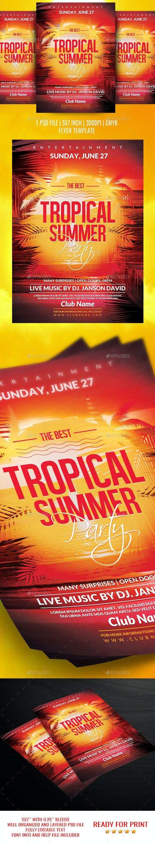 Tropical Summer Flyer Template - Flyers Print Templates