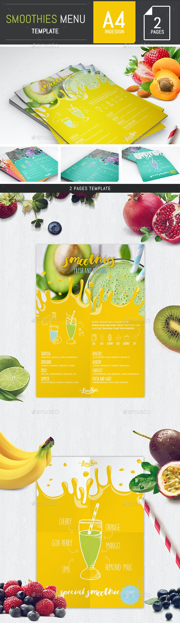 Smoothies Menu Template - Food Menus Print Templates