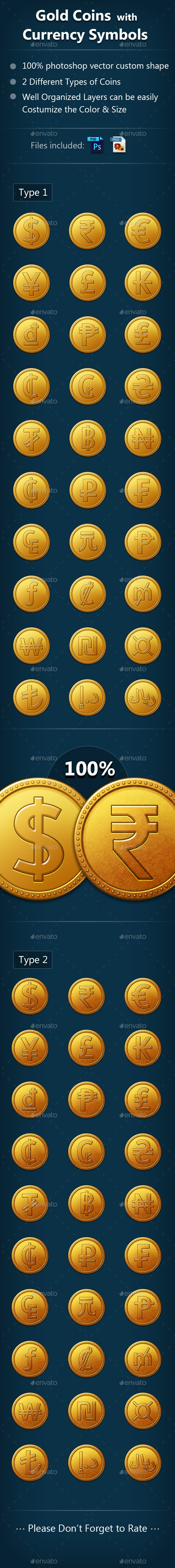 Gold Coin with Currency Symbols - Icons
