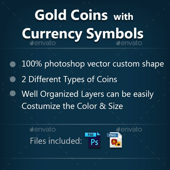 Gold Coin with Currency Symbols