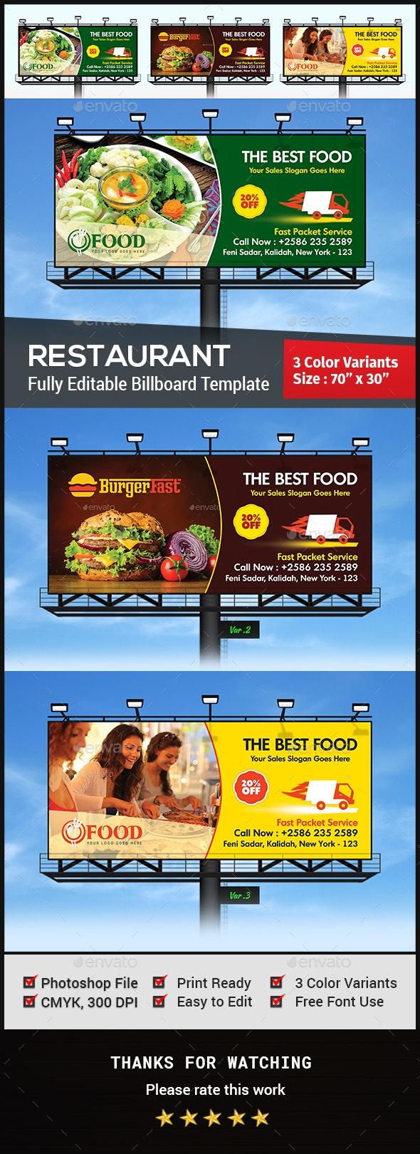 Restaurant Billboard - Signage Print Templates