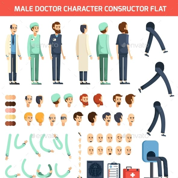 Male Doctor Character Constructor Flat