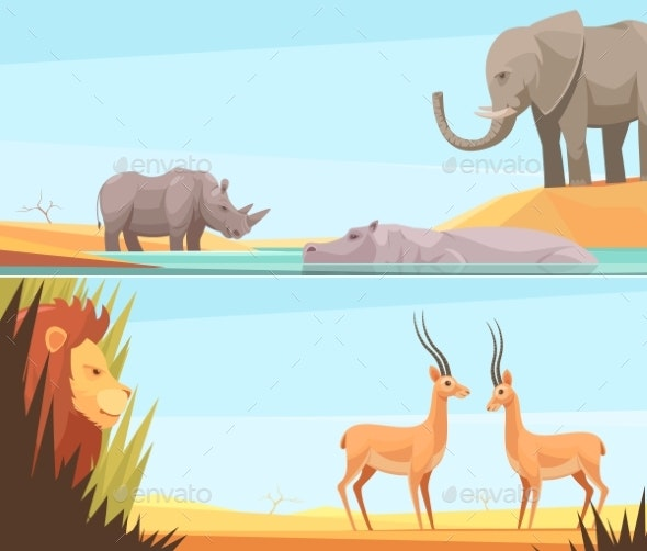 African Wild Banners Set - Nature Conceptual