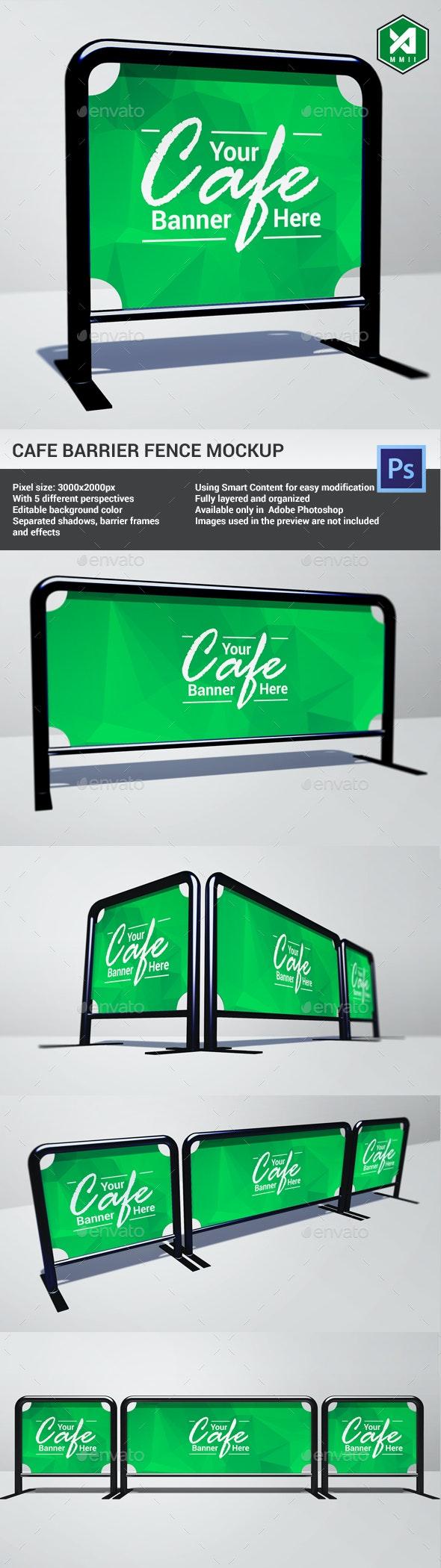 Cafe Barrier / Fence Mockup - Signage Print