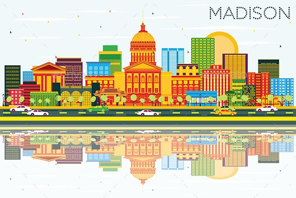 Madison Skyline with Color Buildings, Blue Sky and Reflections - Buildings Objects