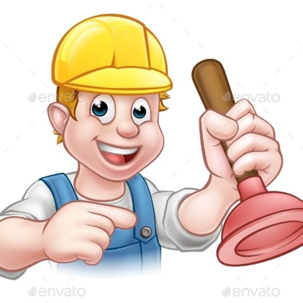 Plumber Holding Plunger with Hard Hat