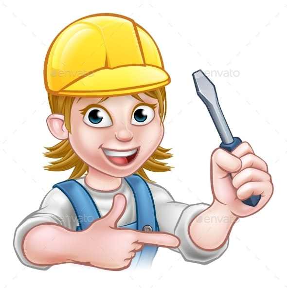 Woman Electrician Holding Screwdriver - People Characters