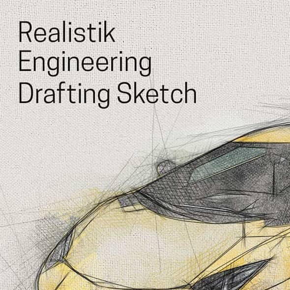 Realistic Engineering Drafting Sketch Action