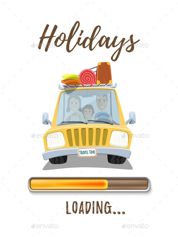 Holidays Loading Poster Template with Car - Travel Conceptual