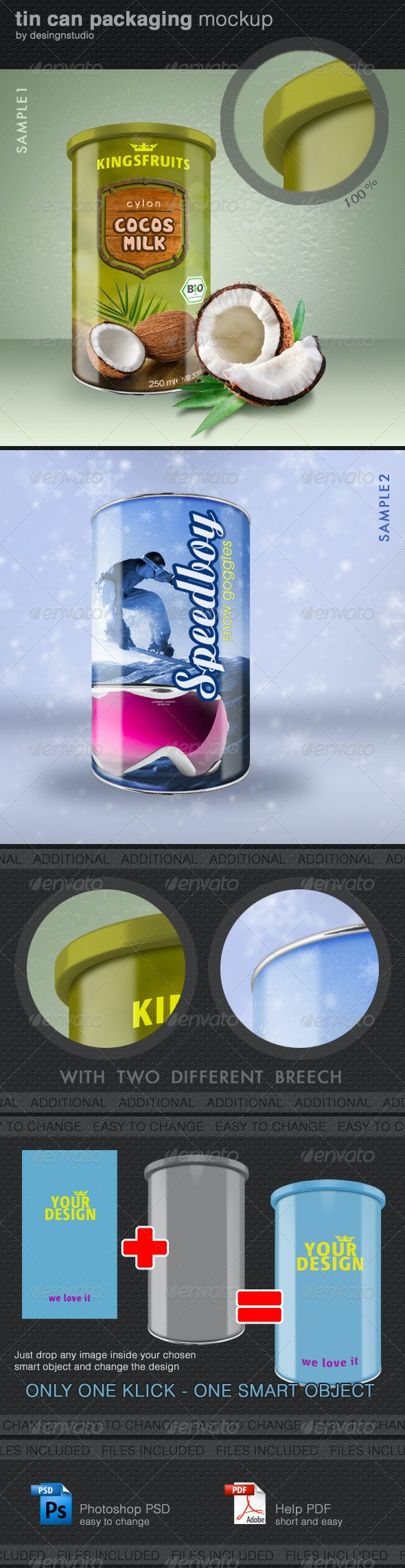Tin Can Packaging Mock-Up - Food and Drink Packaging