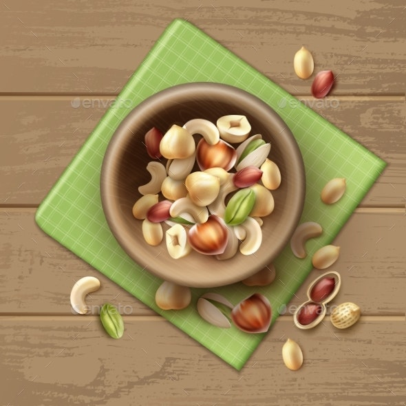 Different Nuts in Bowl - Food Objects