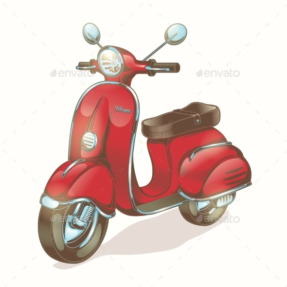 Red Scooter or Moped - Man-made Objects Objects