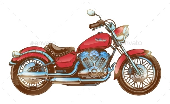 Hand-drawn Red Vintage Motorcycle Classic Chopper - Man-made Objects Objects