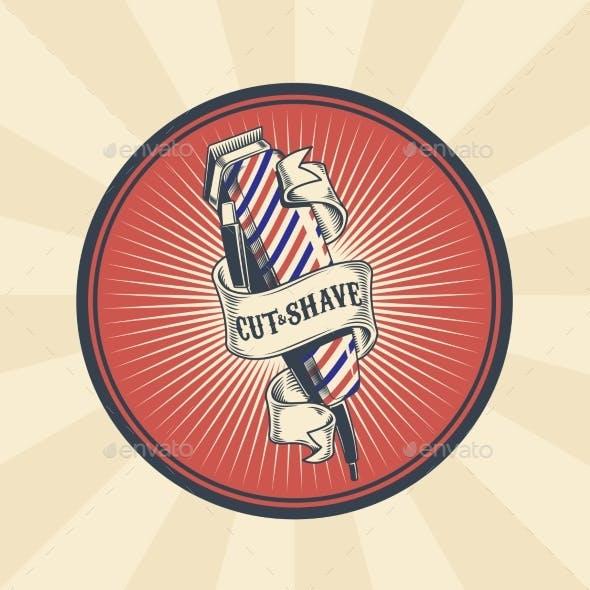 Vintage Badge for Barber