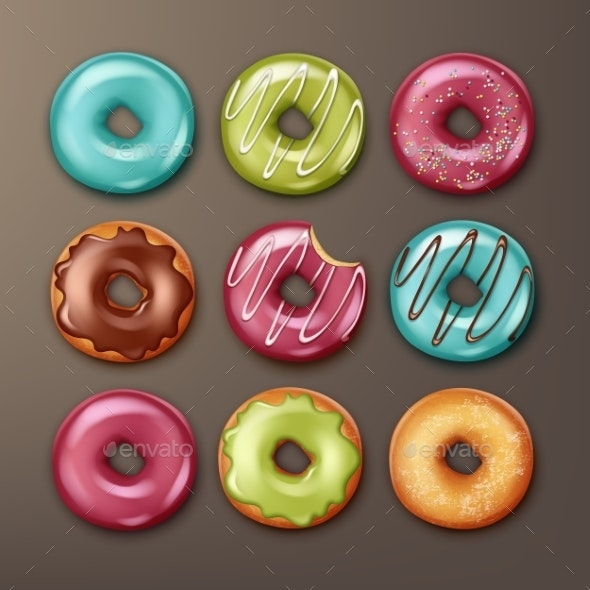 Set of Donuts - Food Objects