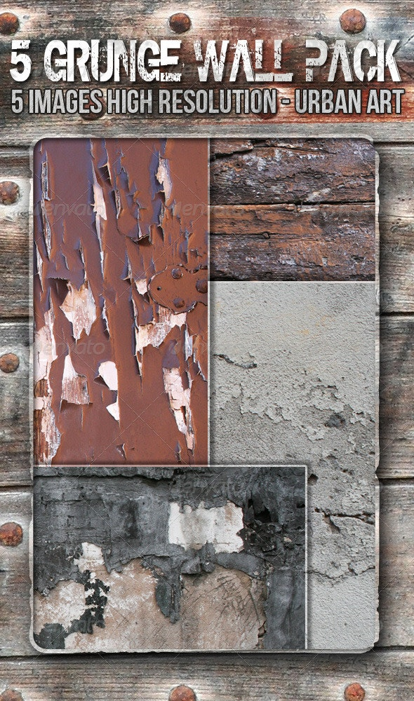 5 Grunge Wall Textures Pack - Textures