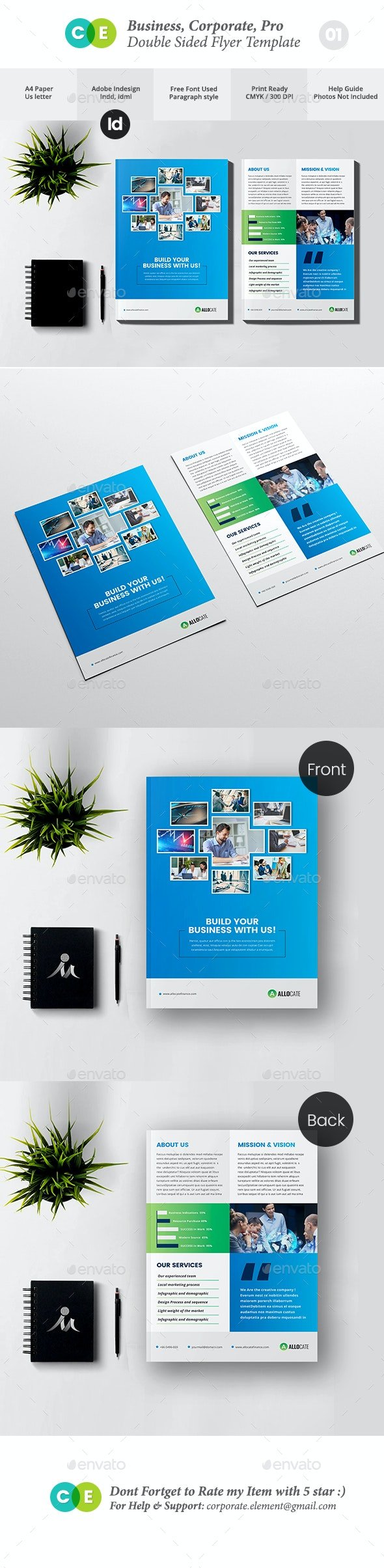 Clean Corporate Pro Double Sided Flyer V01 - Flyers Print Templates