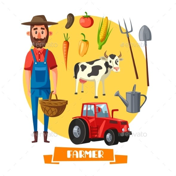 Farmer Profession and Farm Agriculture Vector