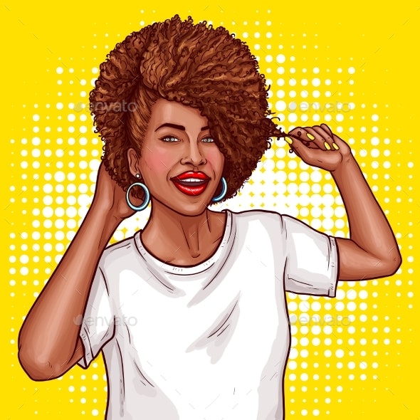 Pop Art Illustration of a Black Woman - People Characters
