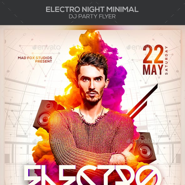 Electro Night EDM Minimal Dj Party Flyer