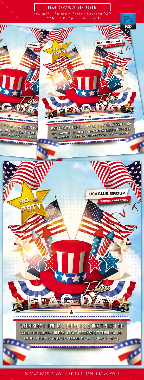 Flag Day July 4th Flyer - Holidays Events